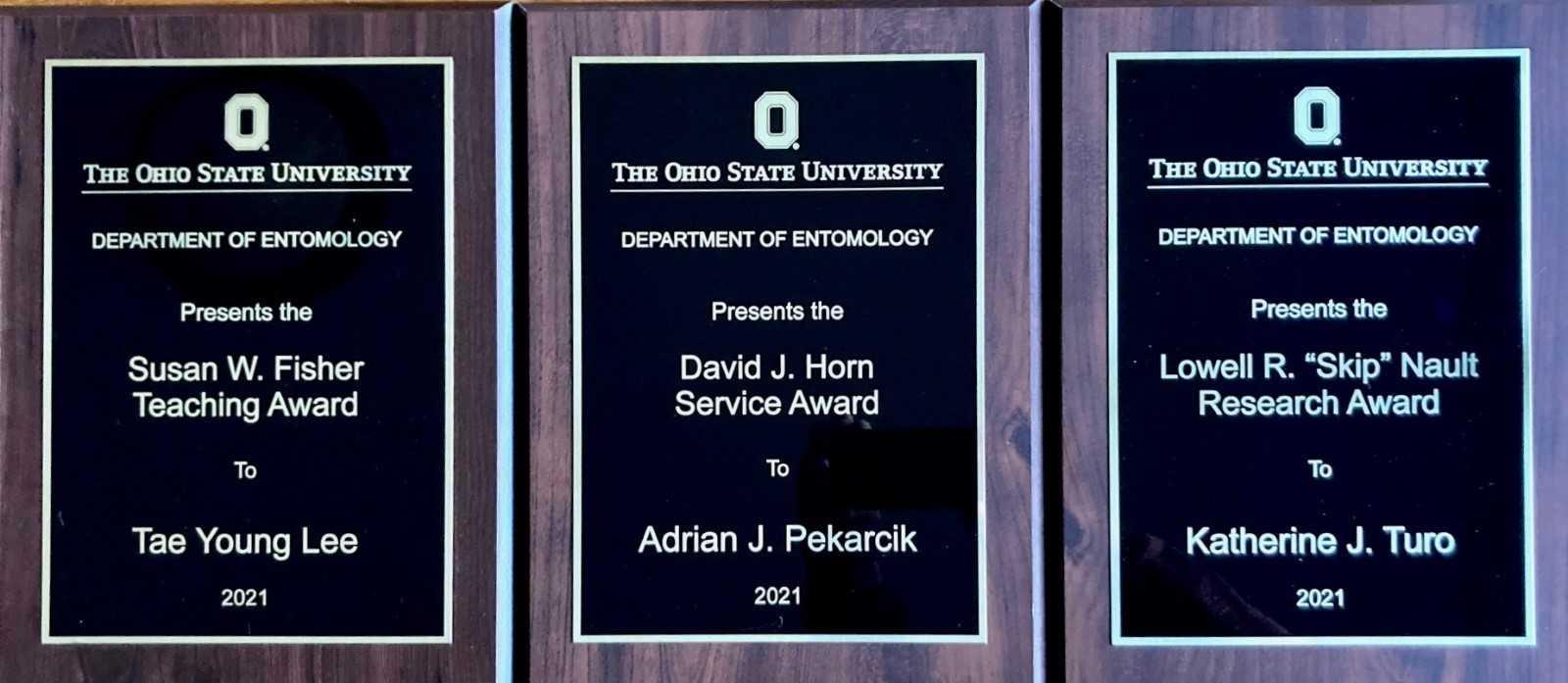 Graduate Student Award Winner Plaques